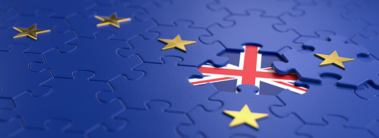 The idea of a 'Brexit' represented via jigsaw puzzle. 3D rendering graphics.