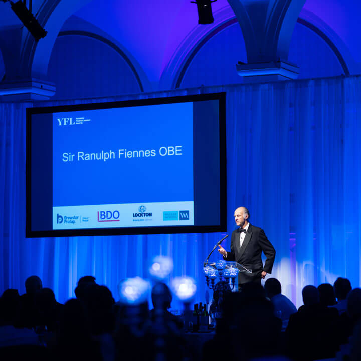 Sir Ranulph Fiennes at the Yorkshire Finance Leaders Awards 2018