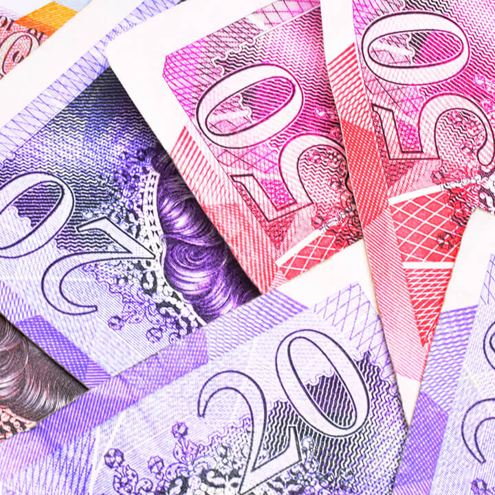 Close up of Various Colorful British Paper Money