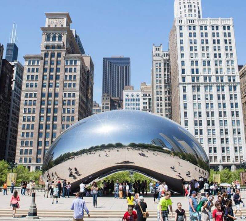 The Cloud Gate Sculpture, Chicago, in America's Midwest