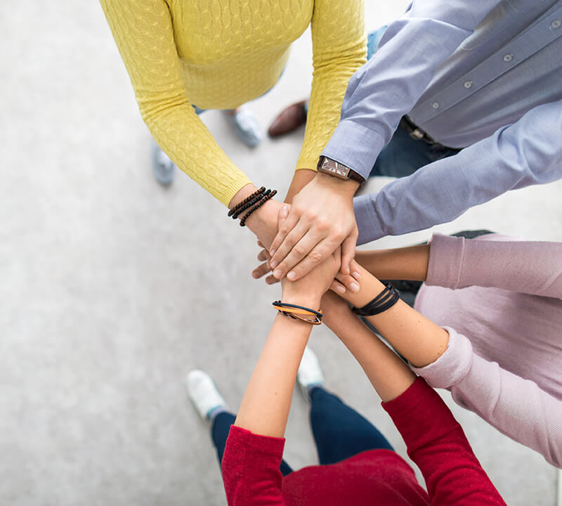 hands in the middle - team morale bulding