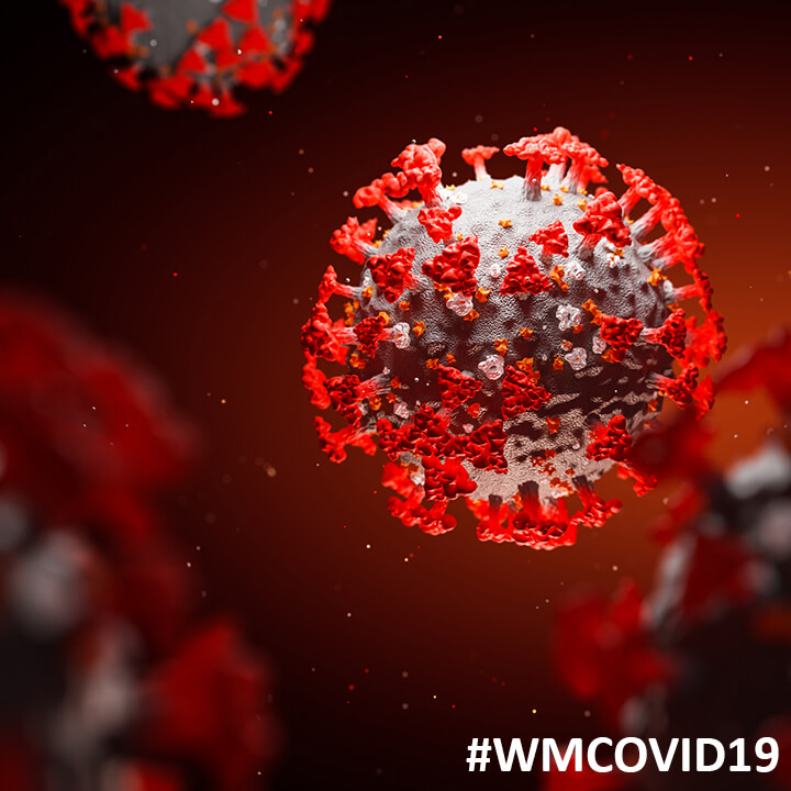 WM_coronavirus_red with #WMCovid19