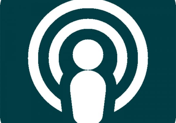 White Podcast Logo on a Dark Green Background