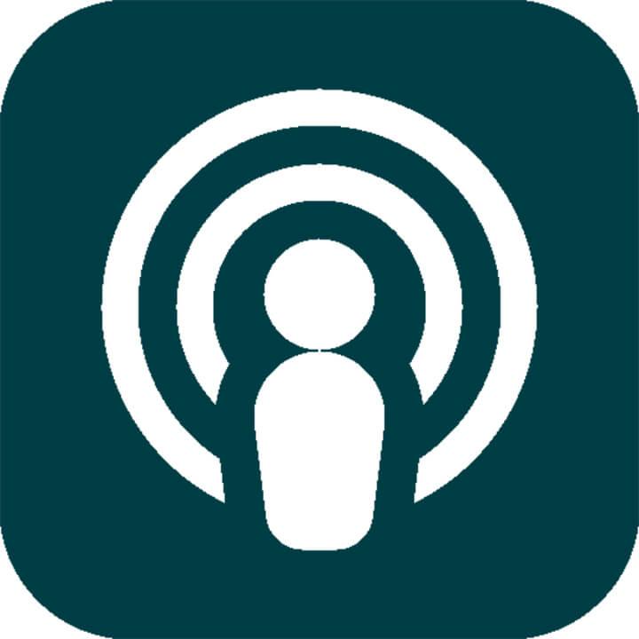 White Podcast Logo on a Dark Green Background