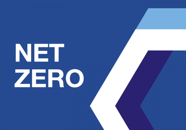 The word 'Net Zero' on a blue background with part of a hexagon