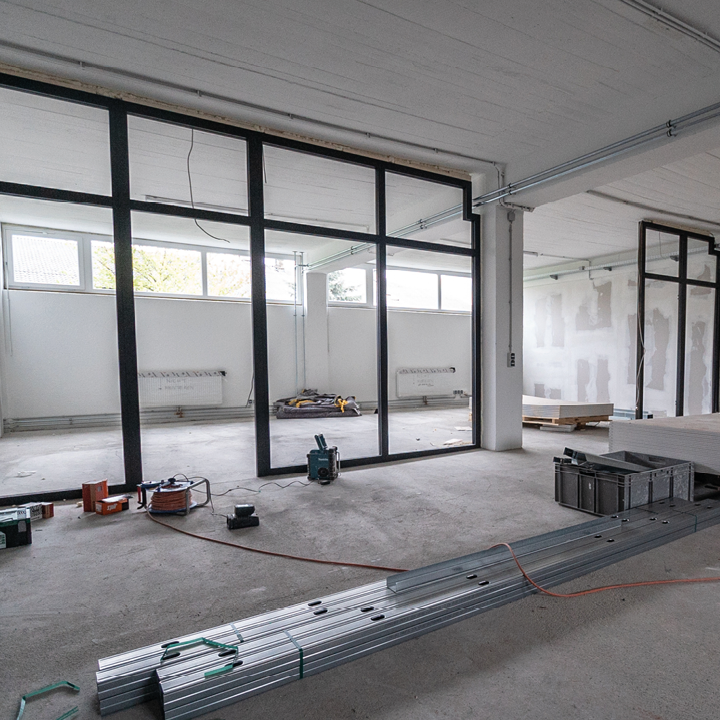An office space being constructed